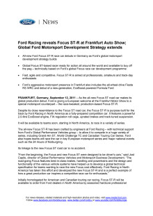 FORD RACING REVEALS FOCUS ST-R AT FRANKFURT AUTO SHOW; GLOBAL FORD MOTORSPORT DEVELOPMENT STRATEGY EXTENDS