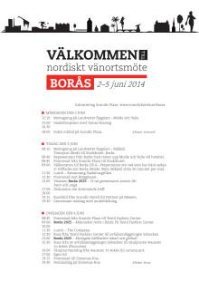 Program för vänortsmötet i Borås 2-5 juni 2014