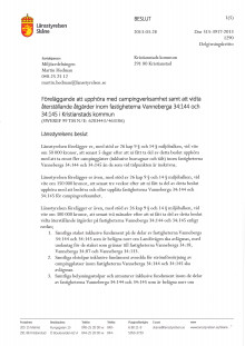Länsstyrelsen Skånes föreläggande till Kristianstads kommun om Landöns camping 130328