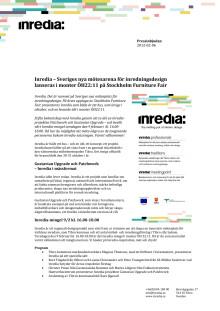 Inredia - nytt centrum för inredningsdesign - lanseras på Stockholm Furniture Fair