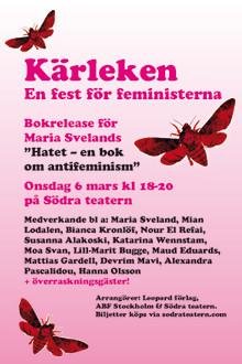 Bokrelease Maria Sveland: Kärleken – en fest för feministerna