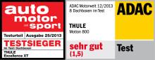 Thule Motion 800 und Thule Excellence XT wieder auf Spitzenposition in aktuellen Tests