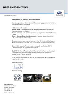 Välkommen till Subarus monter i Genève