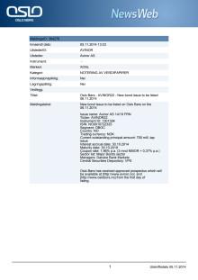 Nytt lån til notering på Oslo Børs 6.11.2014