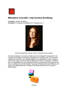 Månadens innovatör i maj 2012, Carolina Carolina Sundberg, Frozzypack.