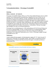 SwedenBIOs verksamhetsberättelse 2009