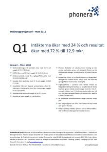 Kvartalsrapport Phonera Januari – Mars 2011 (Q1)