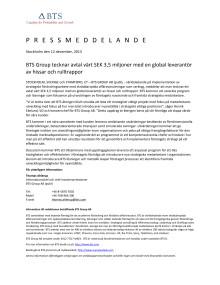 BTS Group tecknar avtal värt SEK 3,5 miljoner med en global leverantör av hissar och rulltrappor