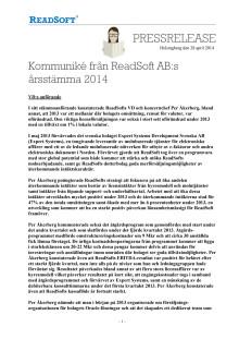Kommuniké från ReadSofts årsstämma 2014