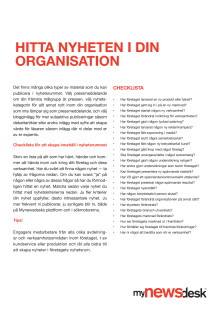 Hitta nyheten i din organisation