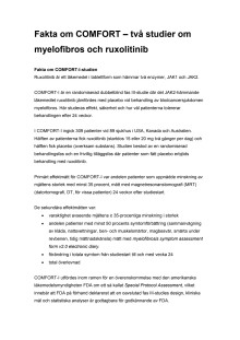 Fakta om COMFORT – två studier om myelofibros och ruxolitinib