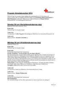 Röda Korsets program för Almedalsveckan 2014.