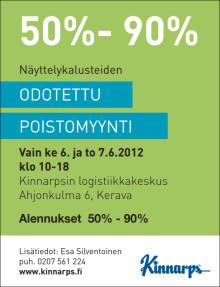 Kinnarpsin näyttelykalusteiden poistomyynti ke 6. ja to 7.6.2012