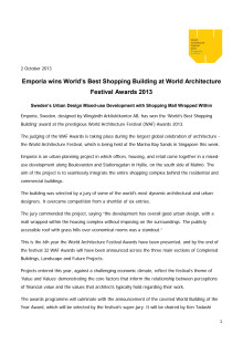 Emporia wins World's Best Shopping Building at World Architecture Festival Awards 2013