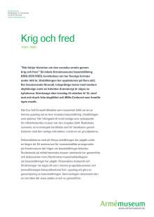 Pressmaterial KRIG OCH FRED 1500-1900