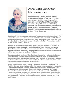 BIO of Anne Sofie von Otter, Mezzo-soprano, at Drottningholm Court Theatre July 2013