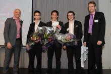 Vinnarna i Founders Awards klara i Västra Sverige: Tre grundare av MobilMobil och Lars Wingefors på Game Outlet Europe.