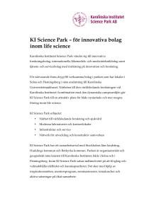 KI Science Park – för innovativa bolag inom life science