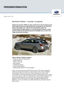 Nya Subaru Outback - en pionjär i ny tappning