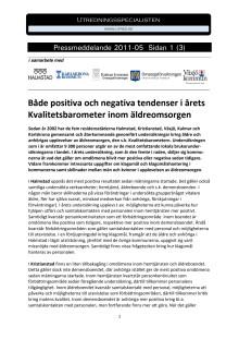 Kvalitetsbarometern 2011 - Omsorgen i Halmstad, Kristianstad, Växjö, Kalmar, Karlskrona