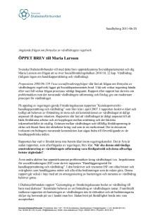 Öppet brev till Maria Larsson