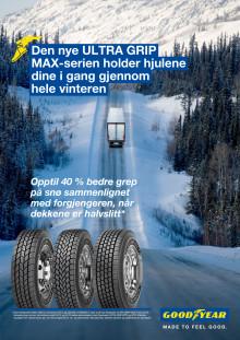 Goodyear lanserer ULTRA GRIP MAX vinterdekk til lastebil for å holde hjulene i gang