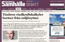 Timbros vindkraftskalkyler bortser från miljönyttan, Väsby svarar på debattartikeln i Dagens samhälle