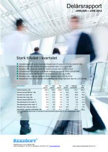 ReadSofts delårsrapport för januari-juni 2012
