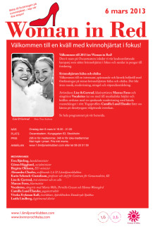 Program för Woman in Red i Stockholm 6 mars