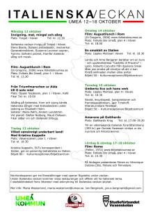 Program Italienska veckan i Väven 12-18 oktober 2015