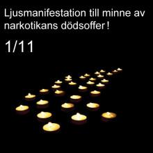 529 dog av narkotikamissbruk 2012, ljusmanifestation på Gustav Adolfs torg hedrar deras minne