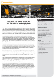 Fact sheet Accumulate Card Overlay - the fast track to mobile payment