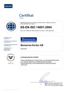 Certifikat ISO 14001:2004 Bemannia Kontor AB