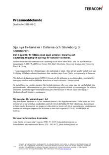Sju nya tv-kanaler i Dalarna och Gävleborg till sommaren