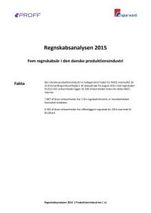 Dansk erhvervsliv - Regnskabsanalyse 2015 - produktionsindustrien