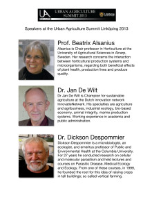Speakers (with short bios) at the Urban Agriculture Summit 2013