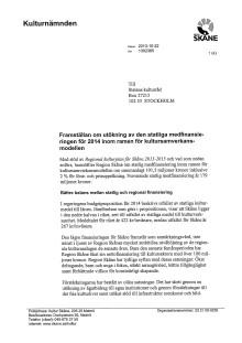 Kulturnämdens framställan till Kulturrådet om medel för 2014