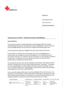 """Röda Korsets yttrande över utredningen """"Särskilt ömmande omständigheter"""" (Ds. 2014:5)"""