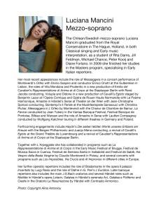 BIO of Luciana Mancini, Mezzo-soprano, Annio in La Clemenza di Tito, Drottningholms Slottsteater 2013