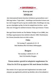 Invitasjon til møter med Xinran