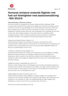 Humanas remissvar avseende Åtgärder mot fusk och felaktigheter med assistansersättning - SOU 2012:6