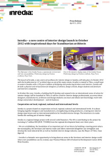 Press release in English about Inredia, a new centre of excellence for interior design