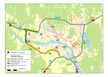 Karta digitala vägskyltar Umeå