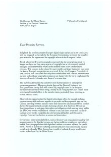 Letter to President Barroso on Copyright Reform