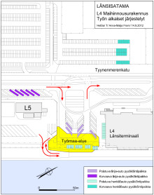 Helsingin Sataman L4 maihinnousurakennuksen työmaa-aikainen kartta