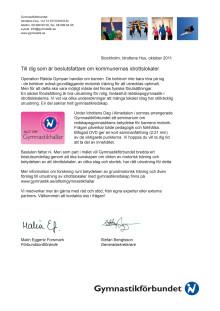 Gymnastikförbundet informerar beslutsfattare i kommunerna om vikten av motorisk träning och välutrustade gymnastiksalar