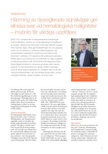 Överläkare Leif Stenke – Hematologi i cancerforskningens frontlinje med målstyrda behandlingar