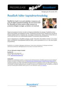 ReadSoft håller kapitalmarknadsdag