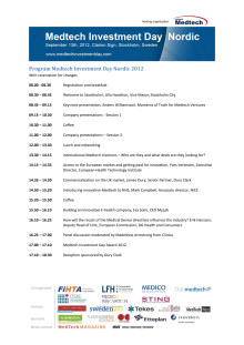 Program - Medtech Investment Day Nordic 2012