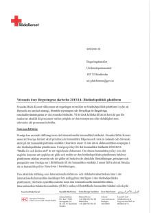 Röda Korsets yttrande över Regeringens skrivelse 2013/14: Biståndspolitisk plattform